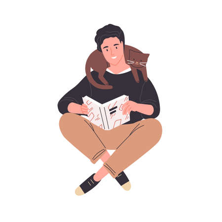 Happy young man reading book sitting with his legs crossed. Cute guy with cat over neck isolated on white background. Male reader enjoying literature or preparing for exam. Flat vector illustration.