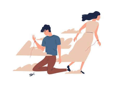 Mother leaving grown up son. Unhappy teen lost emotional connection with parent. Couple breakup, family divorce and relationship problem concept. Vector illustration in flat cartoon style Vector Illustratie