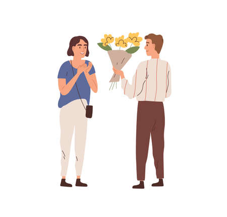 Man giving bouquet of beautiful flowers to woman vector flat illustration. Male admirer making floristic gift or surprise to beautiful female isolated on white. Enamored couple on romantic date