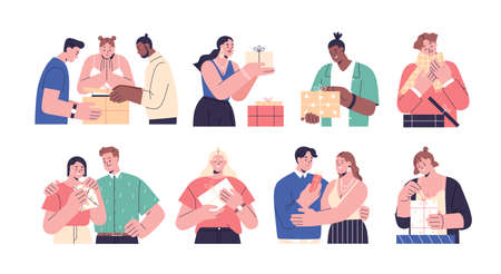 Collection of happy people opening gift boxes vector flat illustration. Scenes with man, woman and couples giving and holding wrapped holiday presents, unpacking festive giftboxes isolated on white
