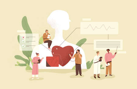 Cardiology concept. Cardiologists checking up heart of patient. Medical diagnostics of human cardio diseases. Examination and treatment of cardiovascular system. Colored flat vector illustration Vector Illustration