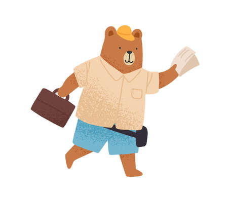 Cute tourist bear hurrying with map or ticket and luggage vector flat illustration. Funny wild animal rushing, carrying baggage isolated on white. Childish character going to travel or vacation Ilustração
