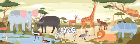 Natural landscape with savannah animals, reptiles and birds. Panoramic scenery with wild habitant. Exotic savanna inhabitants in african national park. Vector illustration in flat cartoon style