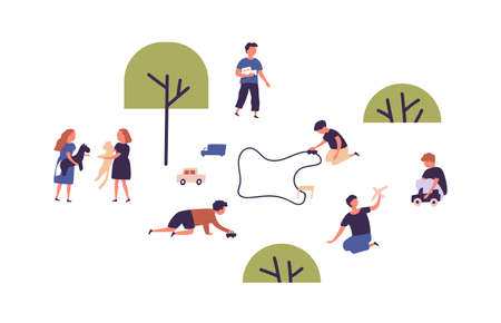 Cute kids playing with toys, car racing and pets at park or playground vector flat illustration. Group of children having fun together isolated on white. Happy boys and girls spending time outdoor