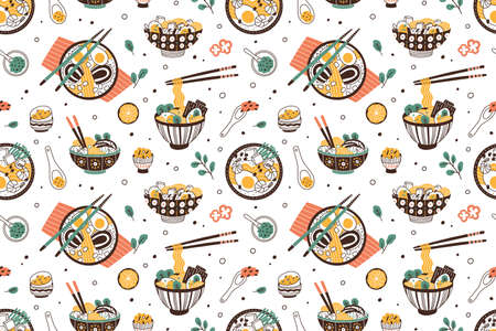Ramen soup hand drawn seamless pattern. Traditional japanese dish with noodles in bowls vector flat illustration. Background with national oriental meal. Wrapping for wok restaurant