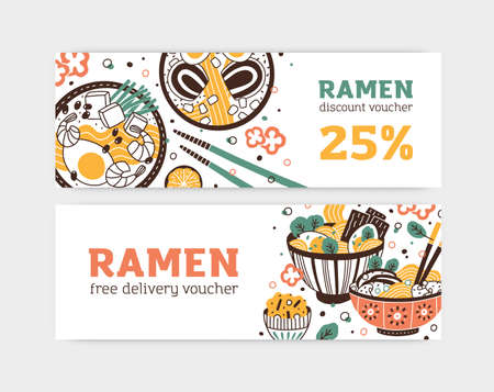 Set of ramen free delivery and discount voucher banner vector flat illustration. Flyer of national japanese cuisine restaurant or cafe with place for text isolated. Horizontal promo with oriental meal