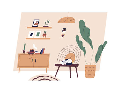 Modern cozy living room interior with furniture, houseplants and decoration in Scandinavian style. Cat sleeping on chair at home. Hygge concept. Flat vector illustration isolated on white background