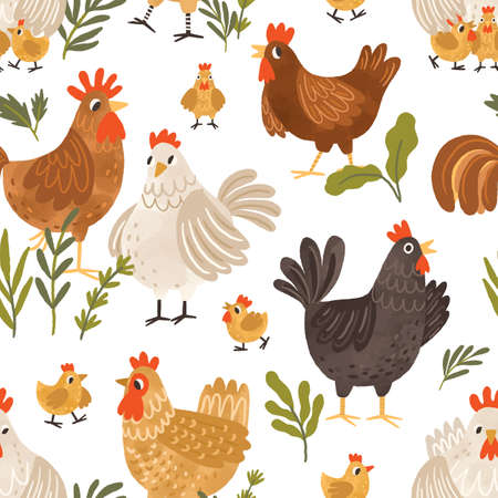 Seamless pattern with cute roosters, chickens, hens and plants on white background. Endless repeatable backdrop with domestic birds. Colored flat textured vector illustration