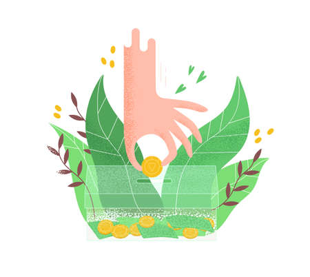 Human hand putting golden coin into transparent money box vector flat illustration. Philanthropist arm hold cash surrounded by tropical leaves isolated. Concept of donation, charity and saving money