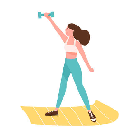 Active woman training with dumbbell on mat vector flat illustration. Sportswoman doing fitness exercise with sports equipment isolated. Female in sportswear practicing doing workout at home or gym