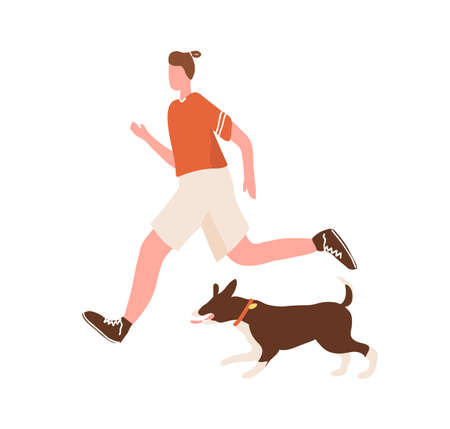 Active man enjoy morning jogging with dog vector flat illustration. Athletic male in sportswear running with pet outdoor isolated on white. Guy practice daily physical activity and healthy lifestyle