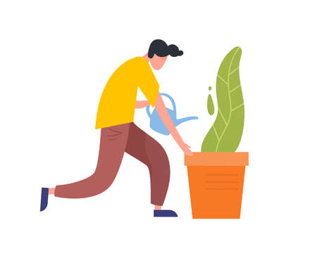 Funny guy take care of green potted plant. Young man holding watering can vector flat illustration. Cute male character pouring water, caring of houseplant isolated on white background Ilustração