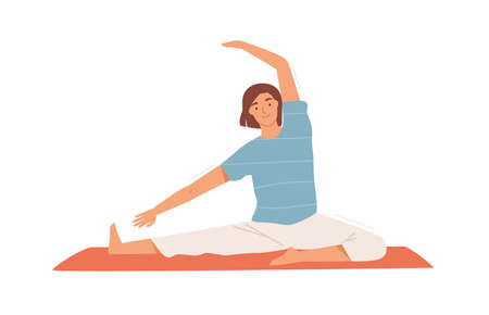 Smiling woman doing stretching exercise on mat vector flat illustration. Happy female performing pilates or yoga training at home or gym isolated on white. Active flexible person enjoying sports