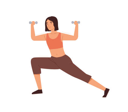 Woman training, doing lunges with dumbbell vector flat illustration. Female practicing warming up or fitness workout with sports equipment isolated on white. Sportswoman enjoying physical activity Ilustração