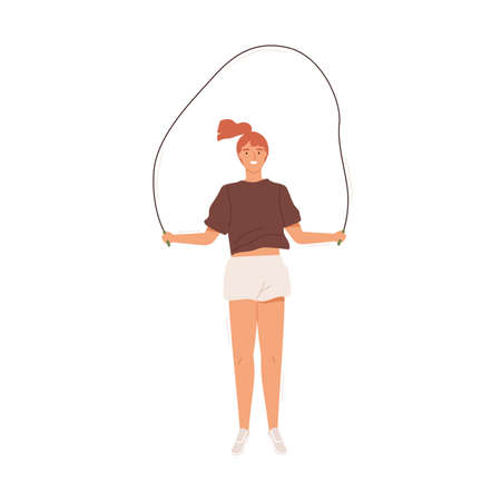 Happy girl doing sports, skipping holding jumping rope vector flat illustration. Smiling female teen practicing cardio training isolated on white. Active person enjoying jump exercise with equipement
