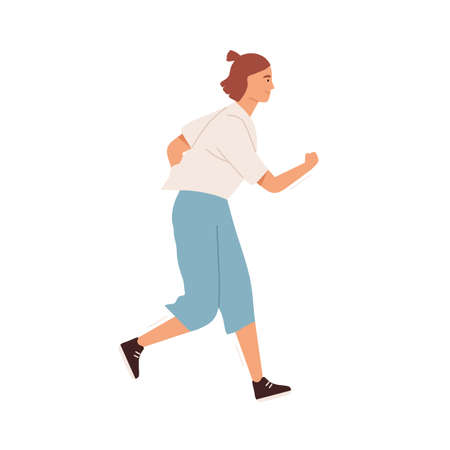 Smiling active woman jogging vector flat illustration. Happy female in sportswear enjoying morning running or daily physical activity isolated on white. Athletic person doing cardio sports training Ilustração