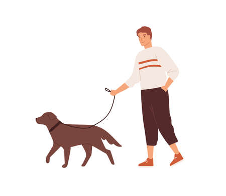 Guy walking with cute dog on leash vector flat illustration. Happy domestic animal and owner spending time together isolated on white. Male character and adorable pet enjoy everyday outdoor activity