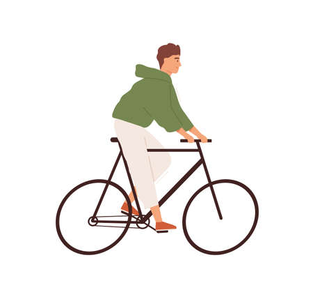 Funny man riding street bicycle vector flat illustration. Happy male ride on urban eco friendly personal transport isolated on white. Smiling guy cycling, enjoying outdoor activity Ilustração