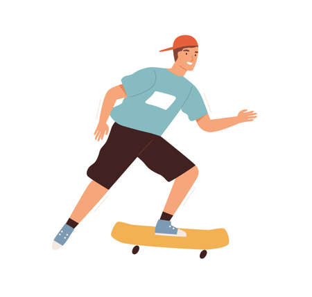 Teenager riding on skateboard vector flat illustration. Smiling male teen in baseball cap enjoy extreme summer outdoor activity isolated. Cute adolescent skateboarder on the street Ilustração