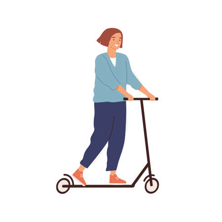 Cheerful woman riding kick scooter vector flat illustration. Smiling female ride eco friendly personal vehicle isolated on white. Young character with modern urban ergonomic transport Ilustração