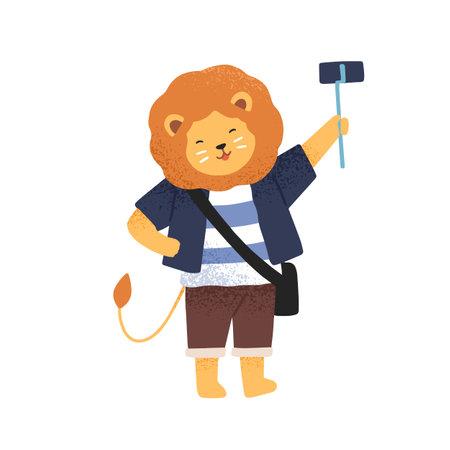 Funny lion taking photo or video holding selfie stick monopod vector flat illustration. Smiling childish animal traveler shooting or photographing, use smartphone isolated. Happy tourist character Ilustração