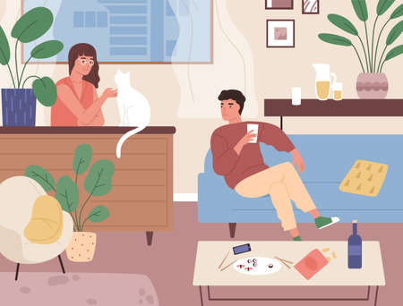 Couple spending time together at home after sushi dinner vector flat illustration. Smiling family relaxing, having date at comfortable apartment. Romantic scene with man and woman