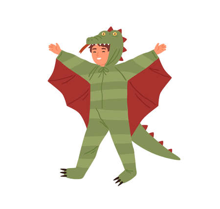 Joyful boy wearing dragon costume, having fun at theme party vector flat illustration. Cute male kid in masquerade apparel isolated on white. Smiling actor of childish theater at performance
