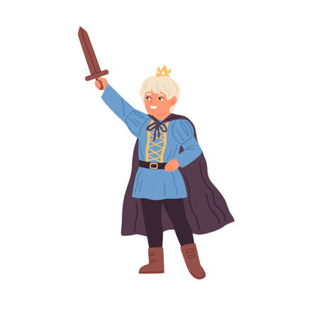 Cute little boy in prince costume holding sword vector flat illustration. Funny male child wearing crown and cloak at masquerade party isolated. Kid actor play king or knight in theater performance