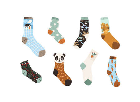 Set of stylish cotton and woolen socks with different drawings, patterns and designs. Collection of cute trendy winter footwear isolated on white background. Colored flat textured vector illustration Ilustração