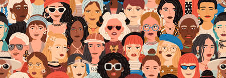 Seamless pattern with female faces. Banner with crowd of fashion and stylish modern women. Colorful repeatable background with diverse people. Diversity concept. Colored flat vector illustration
