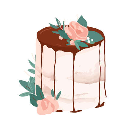 Wedding or birthday dessert decorated with rose flower, leaves and drippy topping. Festive layered creamy cake topped with chocolate glaze. Colored vector illustration isolated on white background Ilustração
