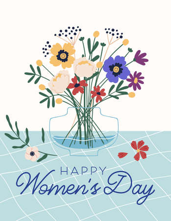 Graphic design of postcard for 8 March with Happy Womens Day inscription. Vertical greeting card with wild flower bouquet in vase and place for text. Colorful flat vector illustration
