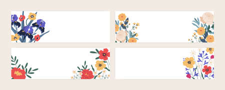 Set of horizontal floral card templates or banners with place for text. Collection of backdrops with elegant blooming flowers on white background. Colorful flat vector illustration
