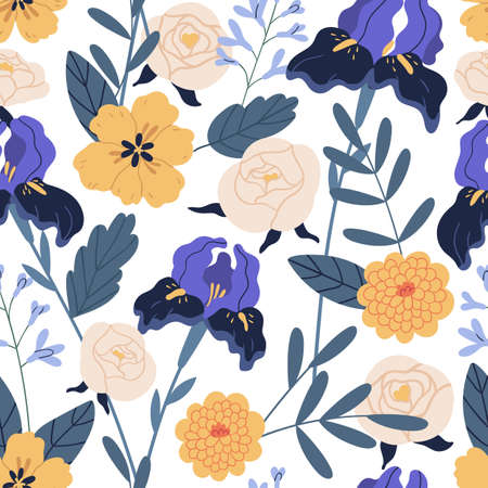 Gorgeous seamless floral pattern with irises and chrysanthemum. Endless design with elegant flowers for printing and decoration. Repeatable botanical backdrop. Colorful flat vector illustration