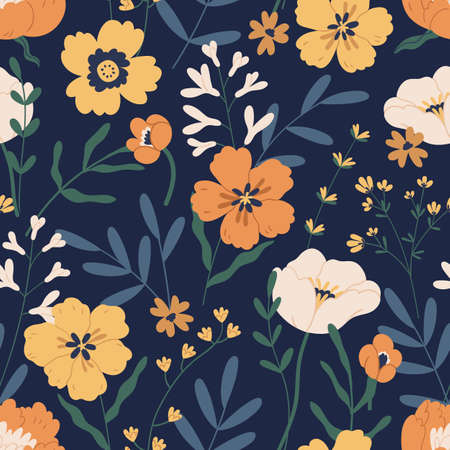 Gorgeous seamless pattern with anemones on black background. Floral design with elegant flowers for printing and decoration. Repeatable botanical backdrop. Colorful flat vector illustration