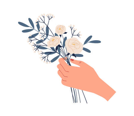 Female hand holding bouquet of delicate white roses and green twigs of eucalyptus isolated on white background. Elegant cut flowers. Beautiful spring or summer gift. Colorful flat vector illustration Ilustração
