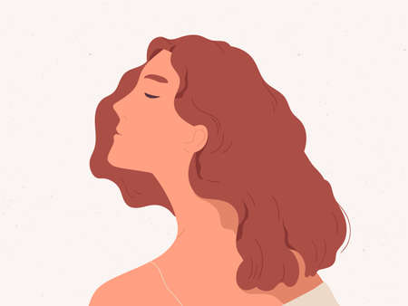Calm and peaceful woman dreaming or thinking. Profile portrait of reflective young lady in her thoughts. Flat cartoon colorful vector illustration isolated on textured background