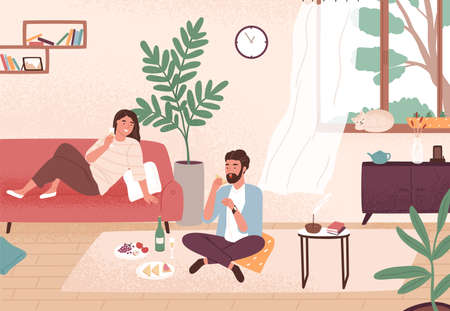 Couple enjoy romantic date at home vector flat illustration. Man and woman having dinner with champagne and snack. Male and female sitting on floor and couch. Enamored pair spending time together
