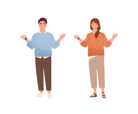 Man and woman meditating trying to keep equanimity and calmness vector flat illustration. Calm male and female characters standing with closed eyes demonstrate balance and concentration isolated Ilustração