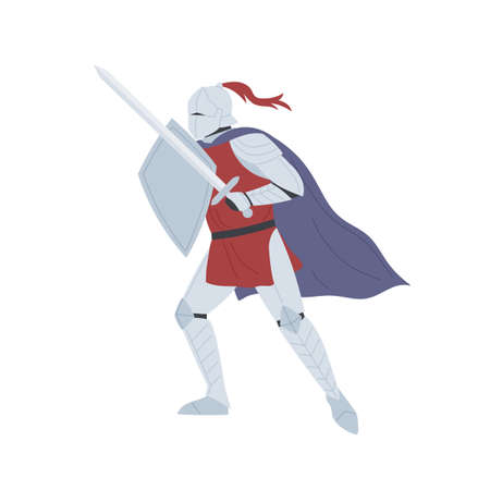 Brave medieval knight in full body armor vector flat illustration. Historical warrior holding sword and shield isolated on white. Ancient soldier, swordsman ready to fight. Fairytale male hero