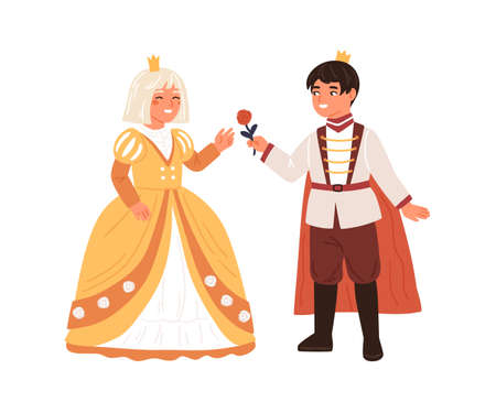 Cute boy in prince costume giving rose to girl in princess gown vector flat illustration. Royal couple at carnival party or ball isolated. Smiling children actors at childish theater performance
