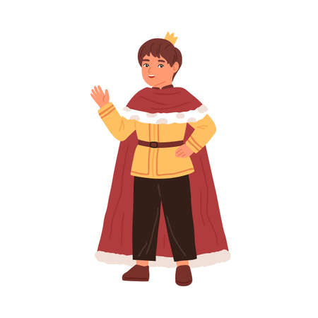 Cute little boy wearing king costume at carnival party vector flat illustration. Funny kid in mantle and crown waving hand isolated. Male actor of childish theater taking part at performance