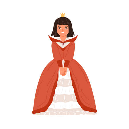 Happy little girl in princess or queen gown vector flat illustration. Smiling female kid in elegant dress and crown at carnival party isolated on white. Actress of childish theater at performance