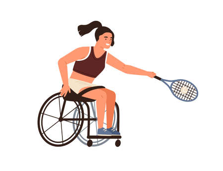 female athlete playing tennis sitting in wheelchair vector flat illustration. Disabled sportswoman hold racket hitting ball isolated. Handicapped woman with paralyzed limbs doing sports