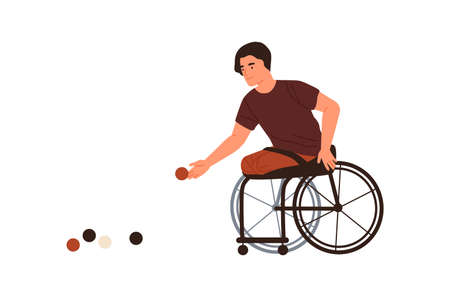 Disabled male playing petanque sitting in wheelchair vector flat illustration. athlete with amputated legs throwing ball isolated on white. Handicapped man performing boules sports training