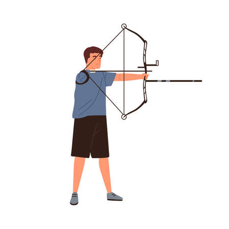 Disabled athlete archer aiming, hold sports bow vector flat illustration. sportsman with amputated hand use archery equipment with arrow isolated. Handicapped guy para archer
