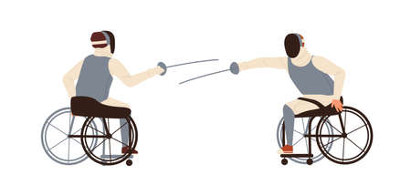 Male disabled athletes fencing sitting in wheelchair vector flat illustration. athletic men with amputated legs hold foils or epee swords isolated on white. Duel of handicapped sportsmen Ilustración de vector