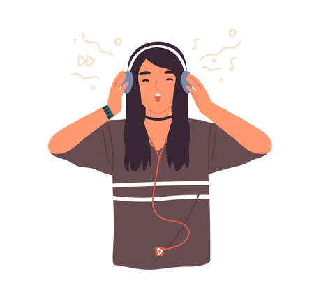 Hipster teenage girl singing and listening to music in headphones, using mp3 player vector flat illustration. Teen female singer enjoying audio sound with closed eyes isolated on white Ilustração