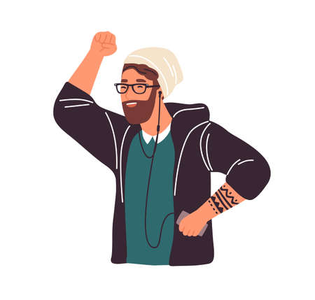 Happy hipster bearded guy listening to music in earphones, dancing and having fun vector flat illustration. Smiling male enjoy audio sound use mp3 player isolated on white. Funny man dance