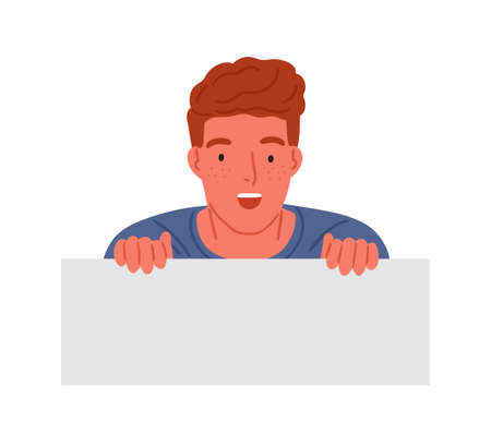 Astonished red haired teen boy peeping with shocked facial expression vector flat illustration. Surprised male teenager having amazed emotion isolated on white. Teenager holding horizontal banner